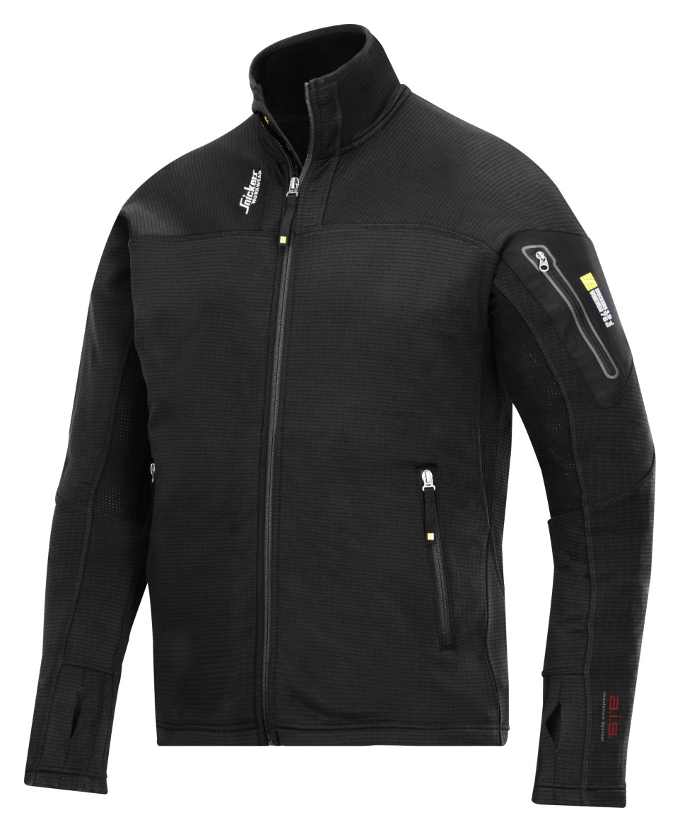 0535e954 Snickers 9438 Body Mapping Micro Fleece Jacket Black | Tools Today