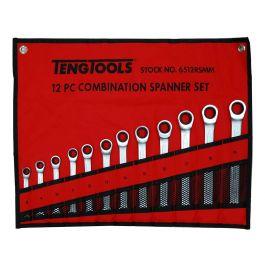 Teng Tools 12 Piece Ratchet Spanner Set In A Wallet 8-19mm