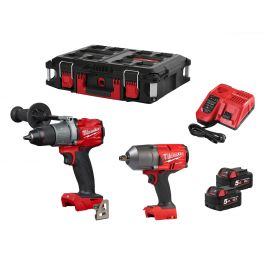 Milwaukee Fuel M18FPP2I2-502P 18v Combi & Impact Wrench Kit 2x 5Ah