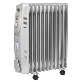 Sealey RD2500T 2500w Oil-Filled Radiator With Timer 230v