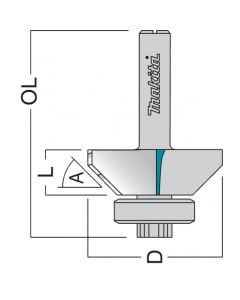 "Makita P-77453 Bearing Guide Edge Trimmer TCT 27mm 1/4"" Shank"