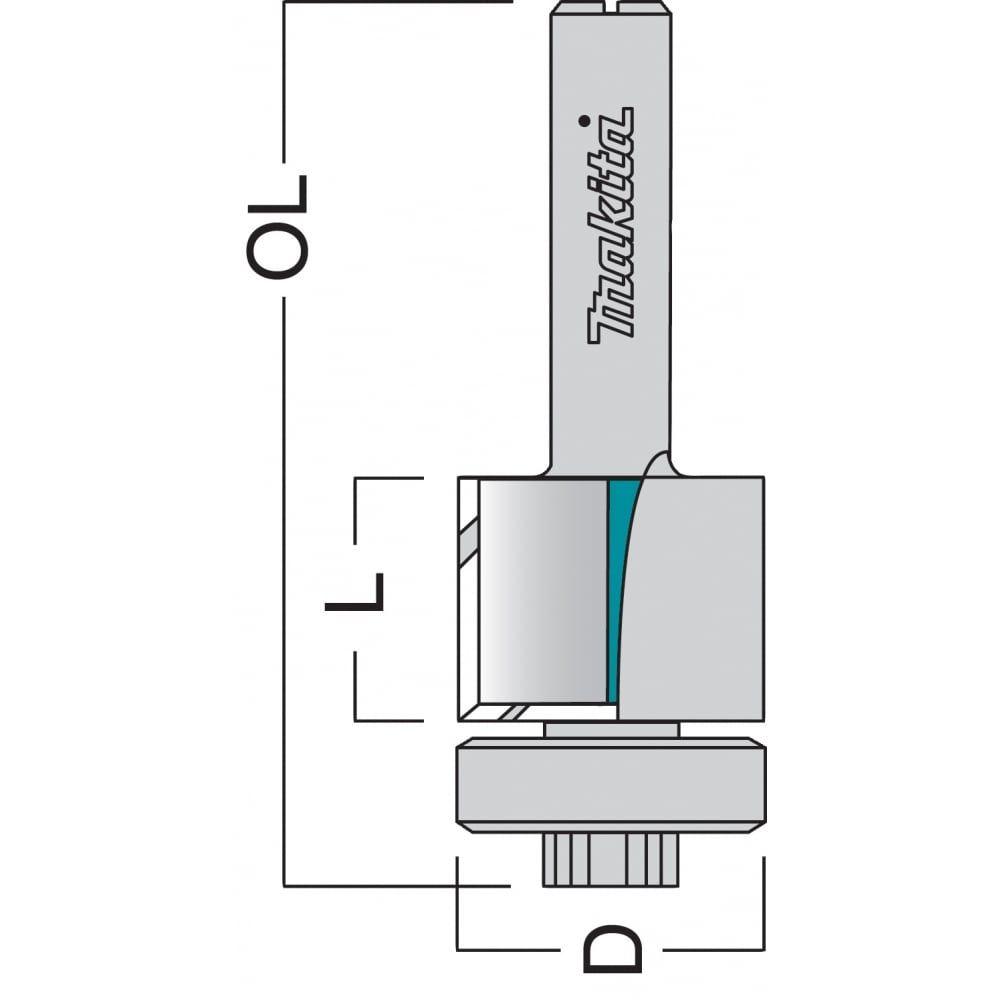 "Makita P-77469 Bearing Guide Edge TCT Router Cutter 99.5mm 1/4"" Shank"