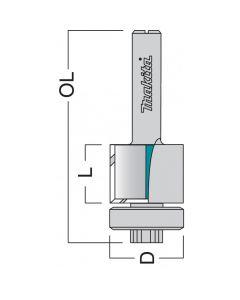 "Makita P-77475 Bearing Guide Edge TCT Router Cutter 6.3mm 1/4"" Shank"