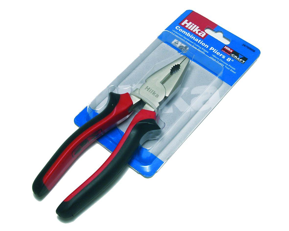 "Hilka Pro Craft 8"" Combination Pliers Soft Grip Handles"