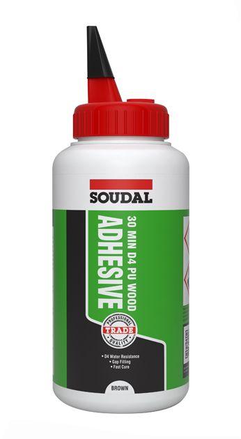 Soudal 30 Minute D4 PU Wood Adhesive Liquid Brown 750gm