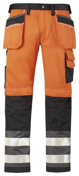 Snickers 3233 Hi-Vis Holster Pocket Trousers Class 2 Orange