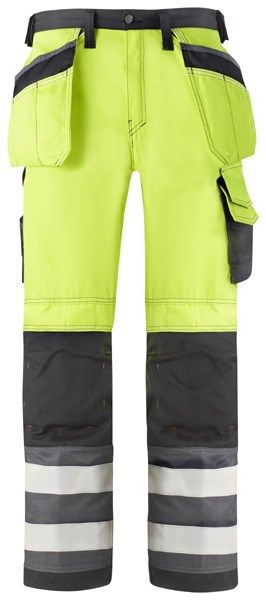 Snickers 3233 Hi-Vis Holster Pocket Trousers Class 2 Yellow