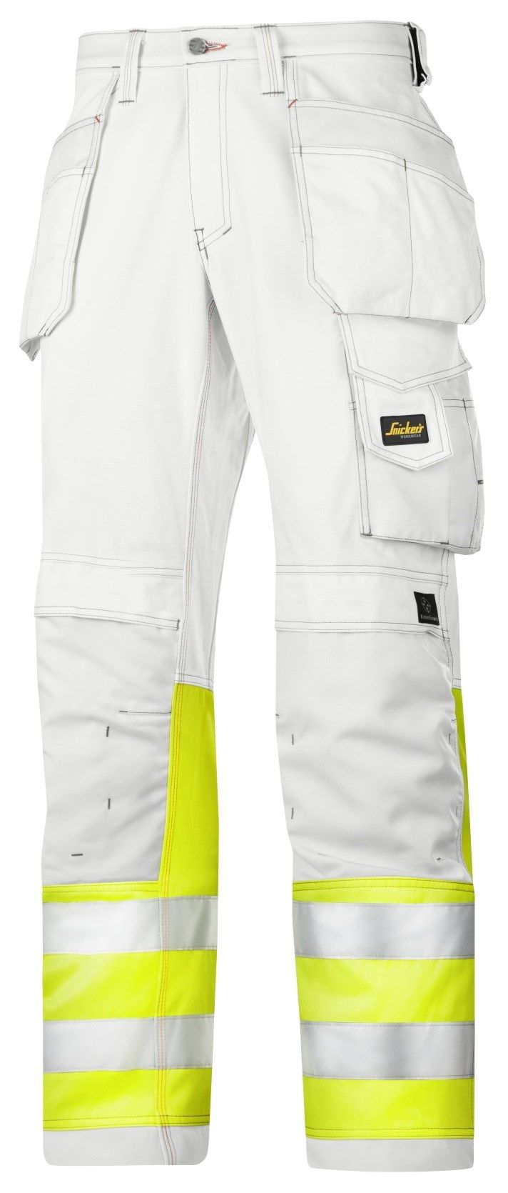 Snickers 3234 Painters Hi-Vis Trousers Class 1 White