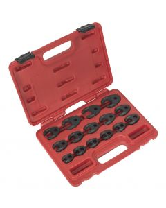 """Sealey Crow's Foot Spanner Set 15pc 3/8""""Sq Drive Metric"""