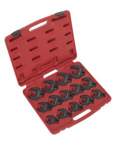 """Sealey Crow's Foot Spanner Set 14pc 1/2""""Sq Drive Metric"""