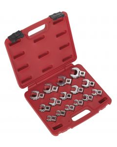 """Sealey Crow's Foot Open End Spanner Set 15pc 3/8""""Sq Drive Metric"""