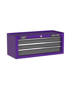 Sealey American Pro Mid-Box 3 Drawer with Ball Bearing Slides - Purple/Grey