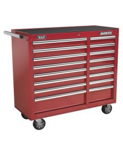 Sealey Superline Pro Rollcab 16 Drawer with Ball Bearing Slides Heavy-Duty - Red