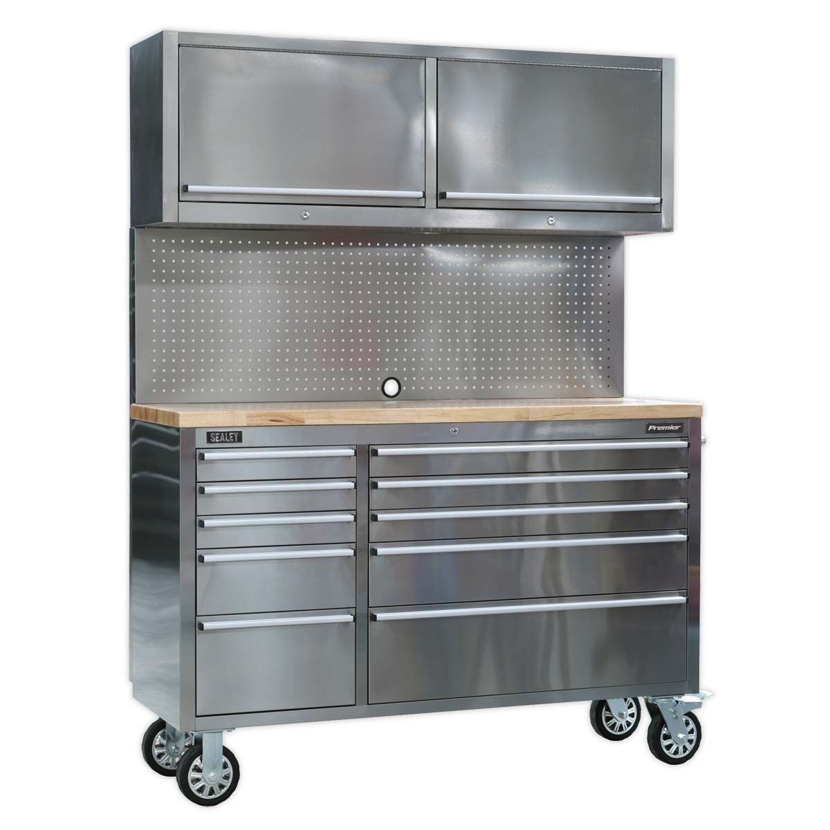 Sealey Premier Mobile Stainless Steel Tool Cabinet 10 Drawer with Backboard & 2