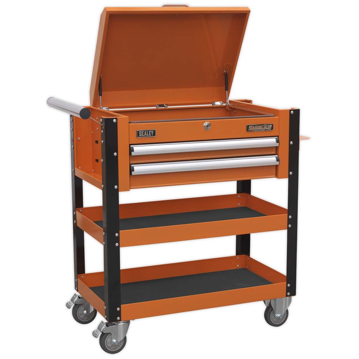 Sealey Heavy-Duty Mobile Tool & Parts Trolley 2 Drawers & Lockable Top - Orange