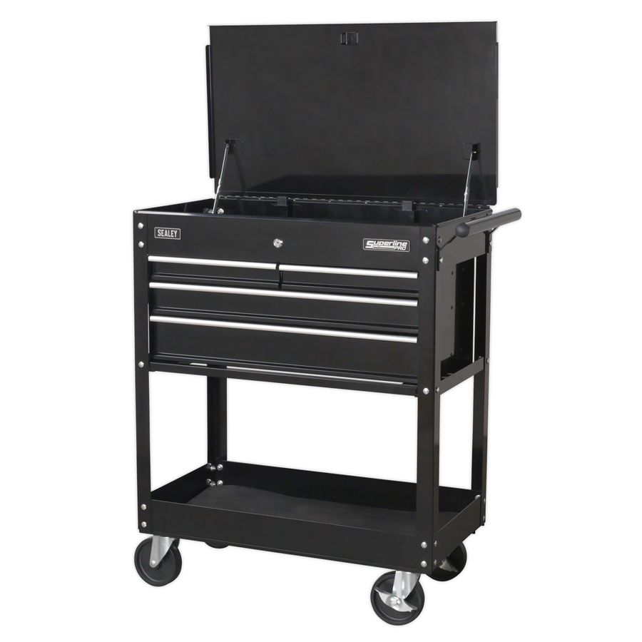 Sealey Heavy-Duty Mobile Tool & Parts Trolley with 4 Drawers & Lockable Top - Bl