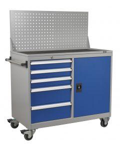 Sealey Industrial Mobile Workstation 5 Drawer & 1 Shelf Locker