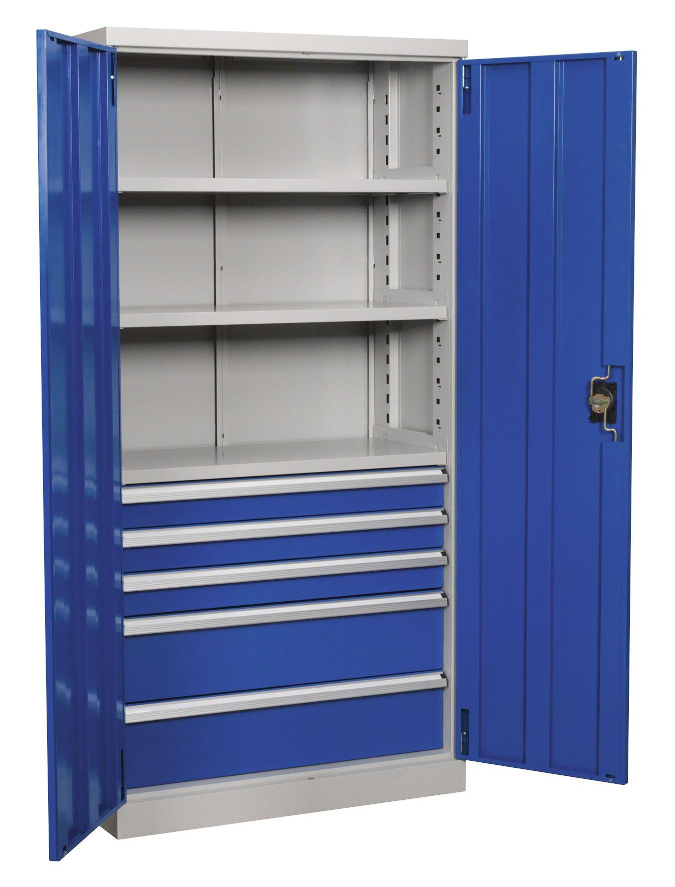 Sealey Industrial Cabinet 5 Drawer 3 Shelf 1800mm