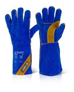 B Flex Cat 2 Blue Gold Welder Gauntlets