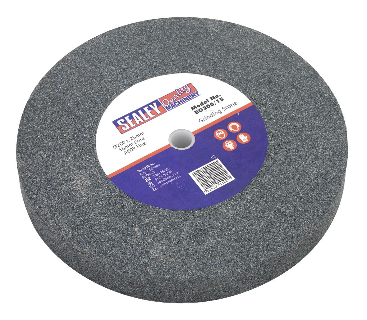 Sealey Grinding Stone 200 x 25mm 16mm Bore