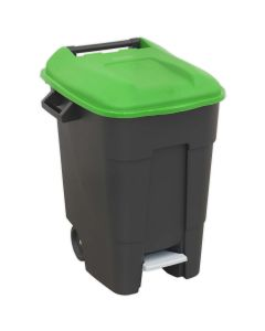 Sealey Refuse/Wheelie Bin with Foot Pedal 100L - Green