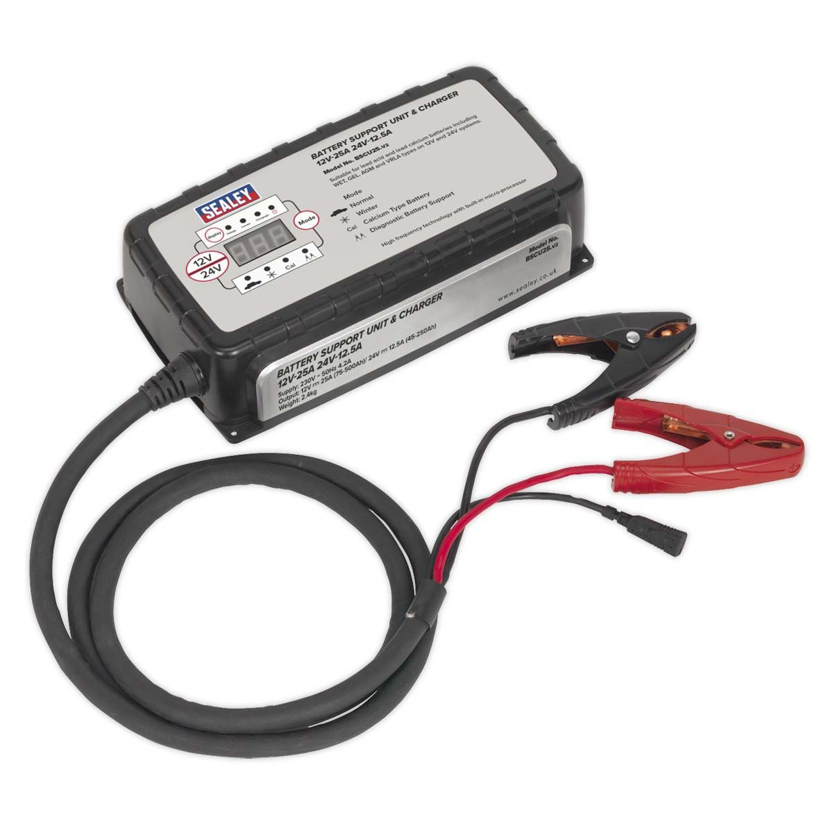 Sealey Battery Support Unit & Charger 12V-25A/24V-12.5A