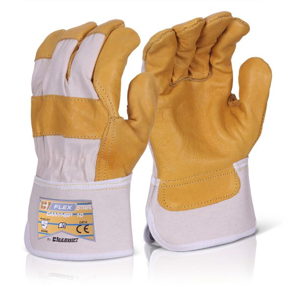 B Flex Leather Hide Canadian Rigger Gloves Yellow