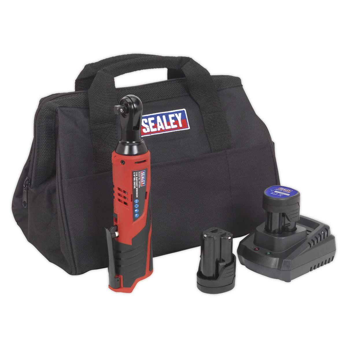"Sealey Ratchet Wrench Kit 3/8""Sq Drive 12V Li-ion - 2 Batteries"