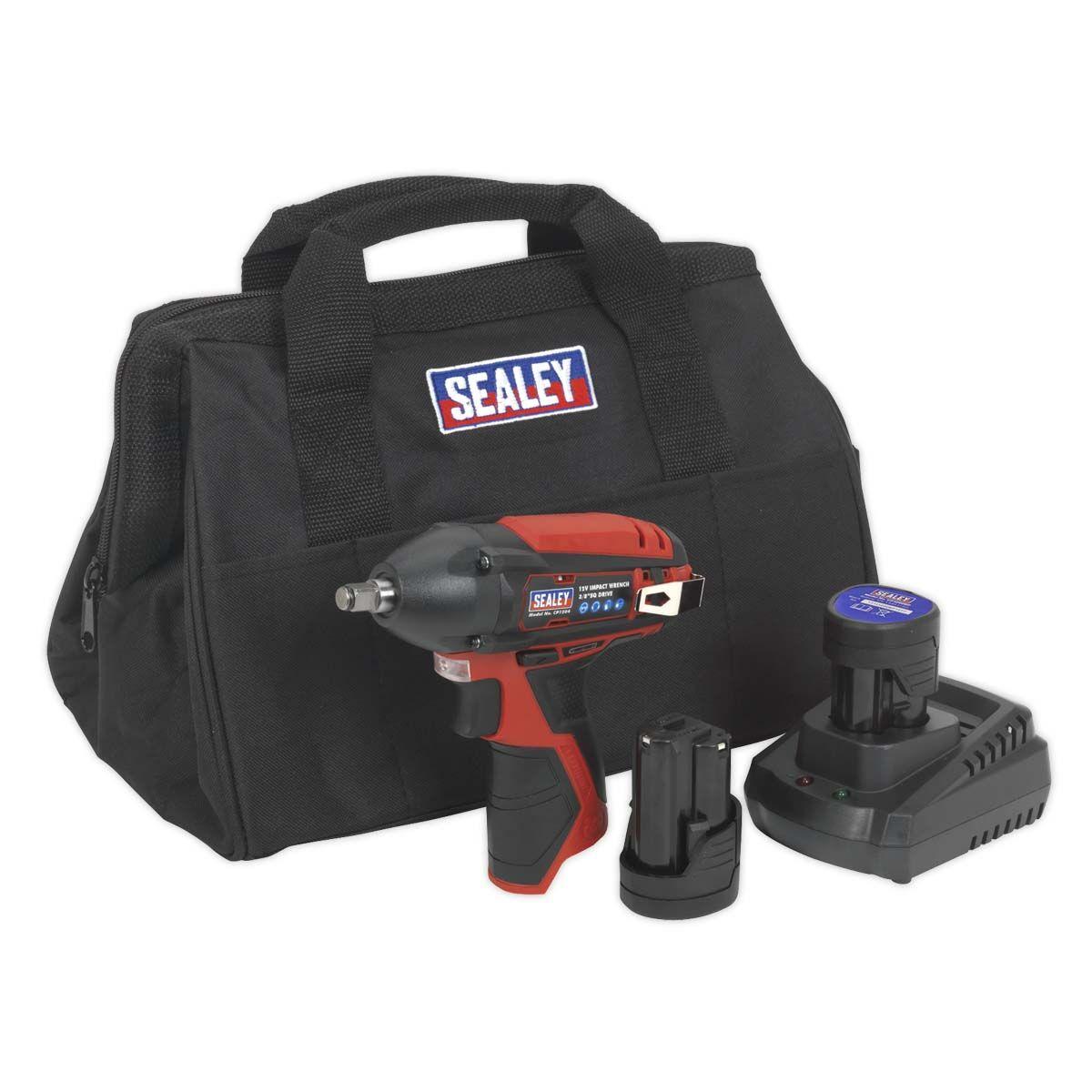 "Sealey Impact Wrench Kit 3/8""Sq Drive 12V Li-ion - 2 Batteries"