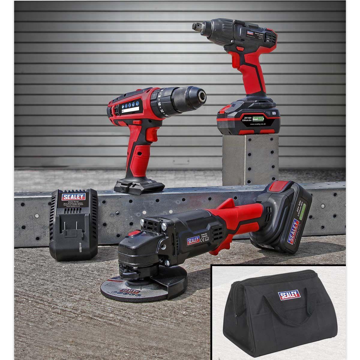 "Sealey 20V Cordless 13mm Hammer Drill/1/2""Sq Drive Impact Wrench/Ø115mm A"