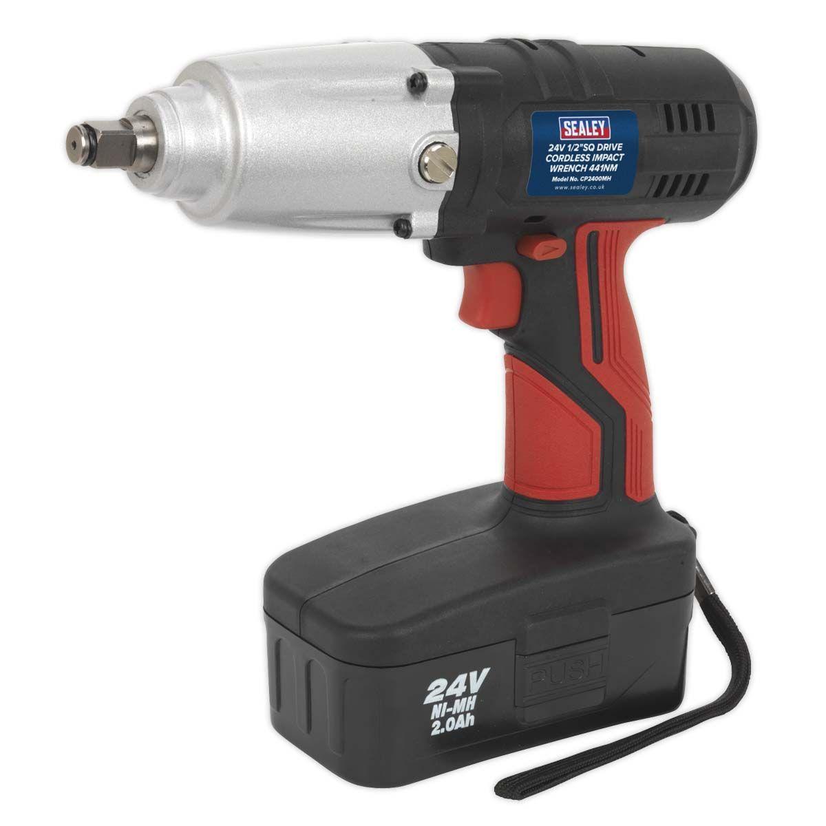 "Sealey Cordless Impact Wrench 24V 2Ah Ni-MH 1/2""Sq Drive 441Nm"