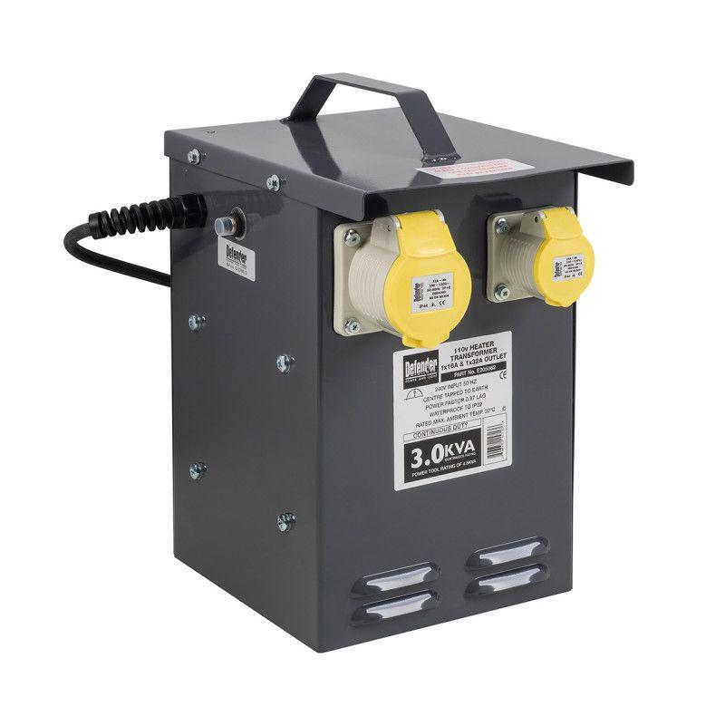 Defender 3.3kVA Heater Transformer 1x 32A & 1x 16A 110V Outlets