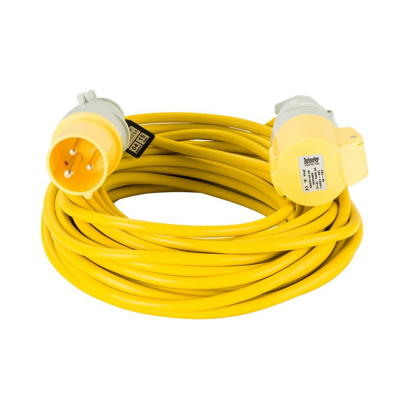 Defender 110V Extension Leads 16A 2.5mm Yellow