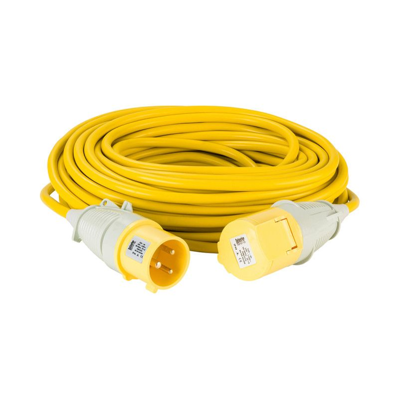 Defender 25m Extension Lead 32A 4mm Cable Yellow 110V