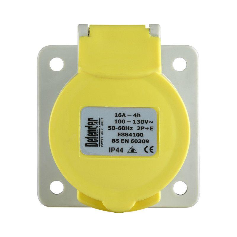 Defender 16A Panel Socket Yellow 110V