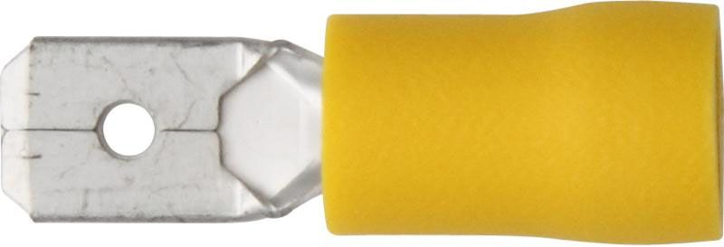 Pk 100 Terminals Yellow Push On Male 6.3mm