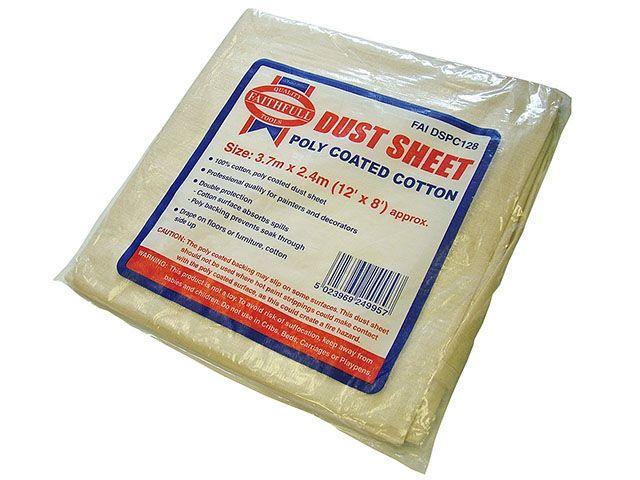 Faithfull Cotton Twill Polythene Backed Dust Sheet 12 x 8ft