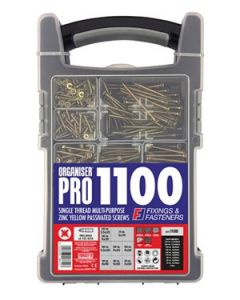 Forgefix Multi Purpose Organiser Pro Zinc Yellow Screw Set 1100 Piece