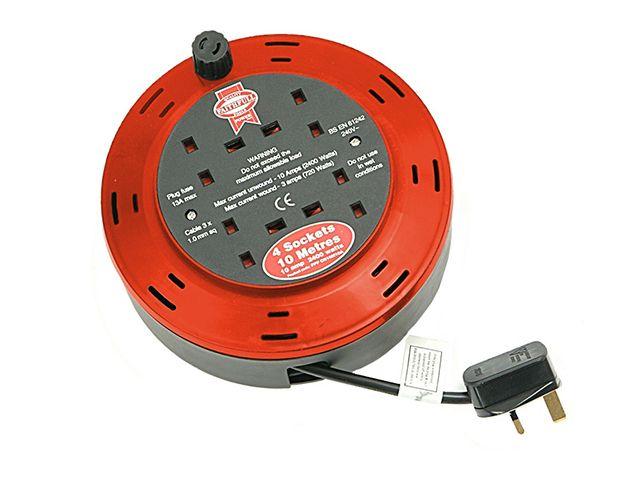 Faithfull Power Plus Cable Reel 230 Volt 10 Metre 10 Amp 4 Socket