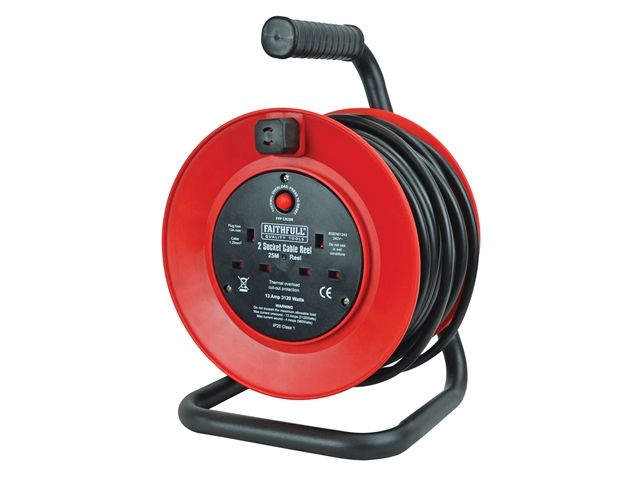 Faithfull Power Plus Cable Reel 25 Metre 13 Amp 230 Volt
