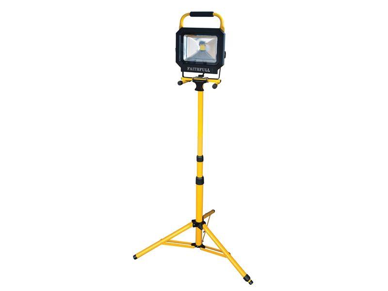 Faithfull Power Plus COB LED Single Pod Tripod Site Light 2100 Lumen 30 Watt