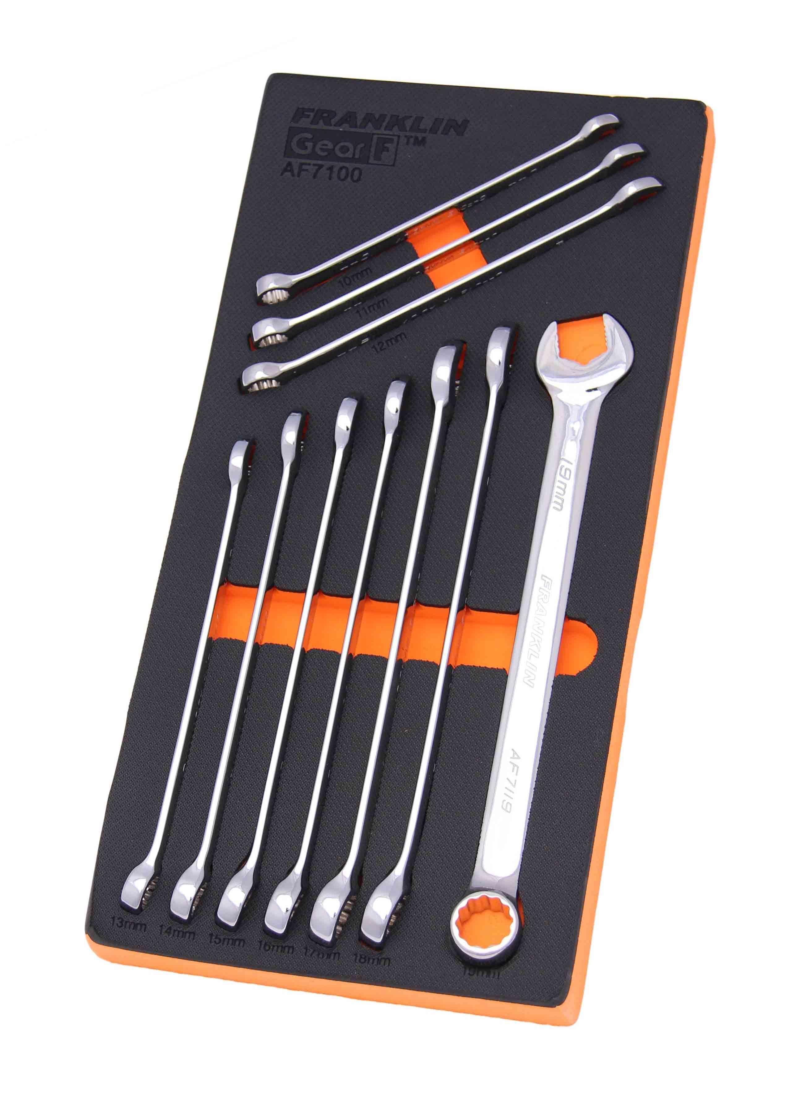 Franklin GearF Grip 4+ 10 Piece 12 Point XL Combination Spanner Set