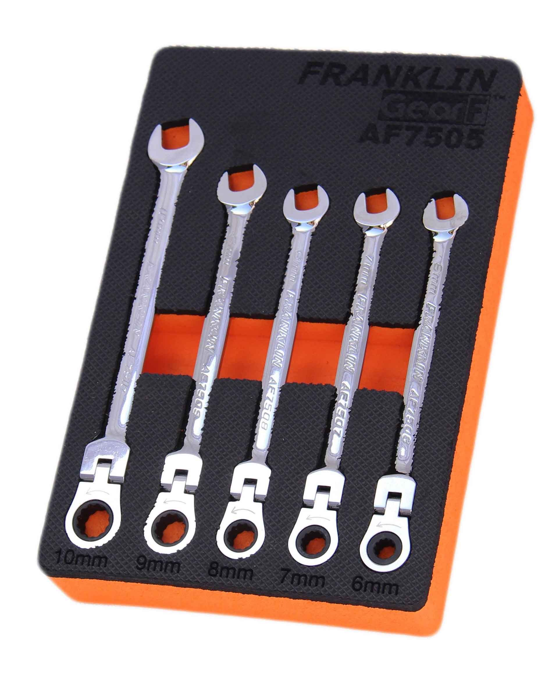 Franklin GearF 5 Piece 12 Point Flexi Ratchet Combination Spanner Set