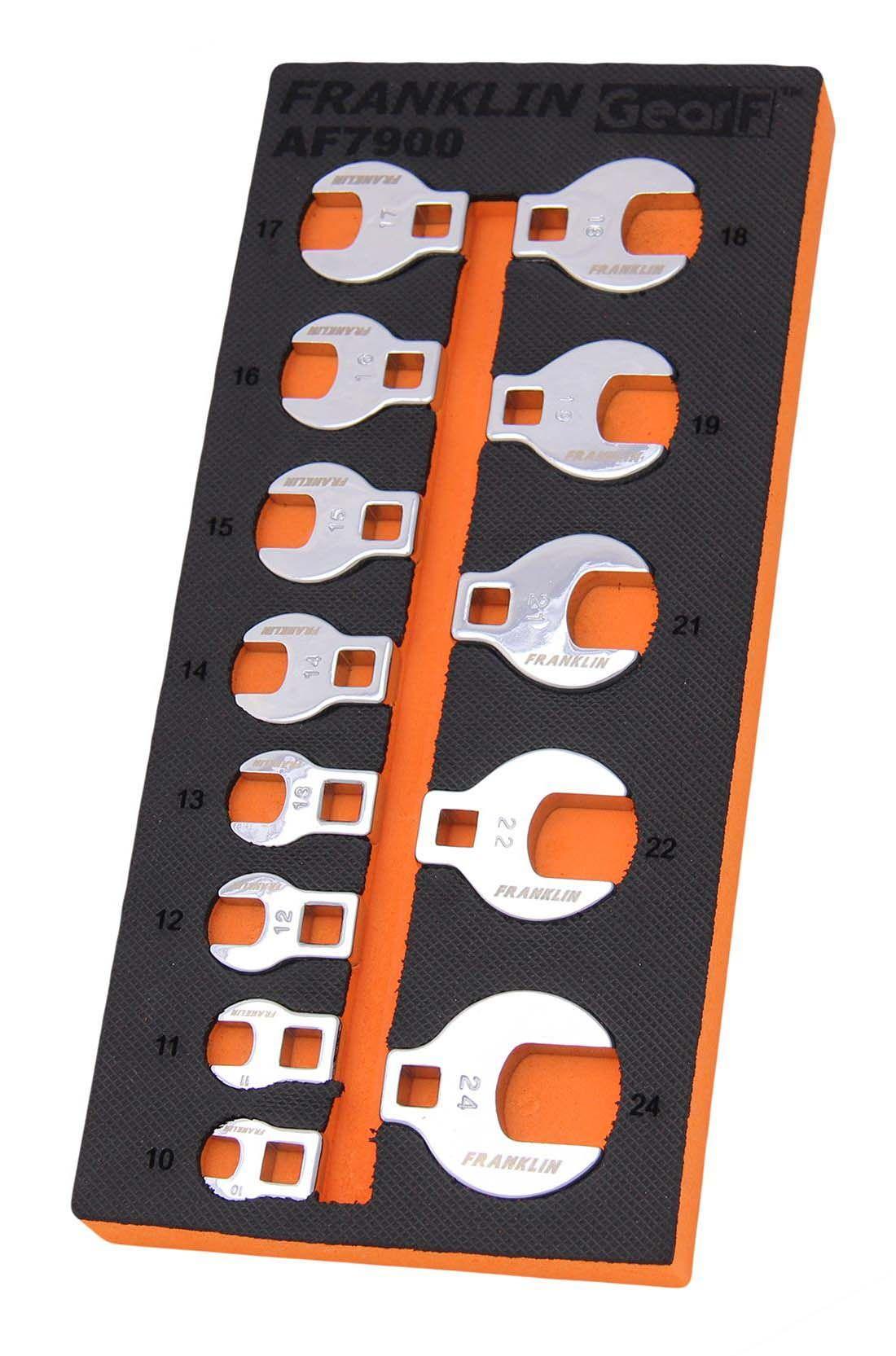 "Franklin GearF 13 Piece Crowfoot Wrench Set 3/8"" Drive"