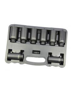 "Franklin 8 Piece 12 Point Impact Hub Nut Deep Thinwall Socket Set 1/2"" Drive"