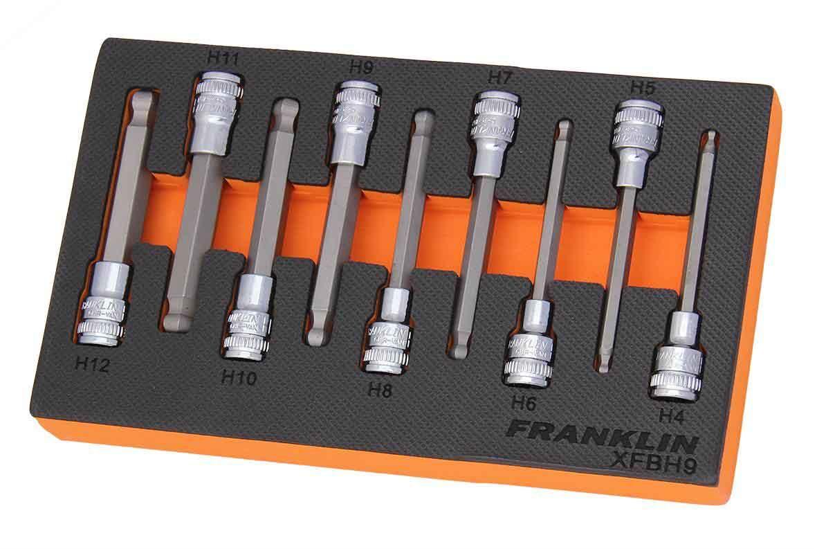 "Franklin XF 9 Piece Hexagon Long Ball End Bit Socket Set 3/8"" Drive"