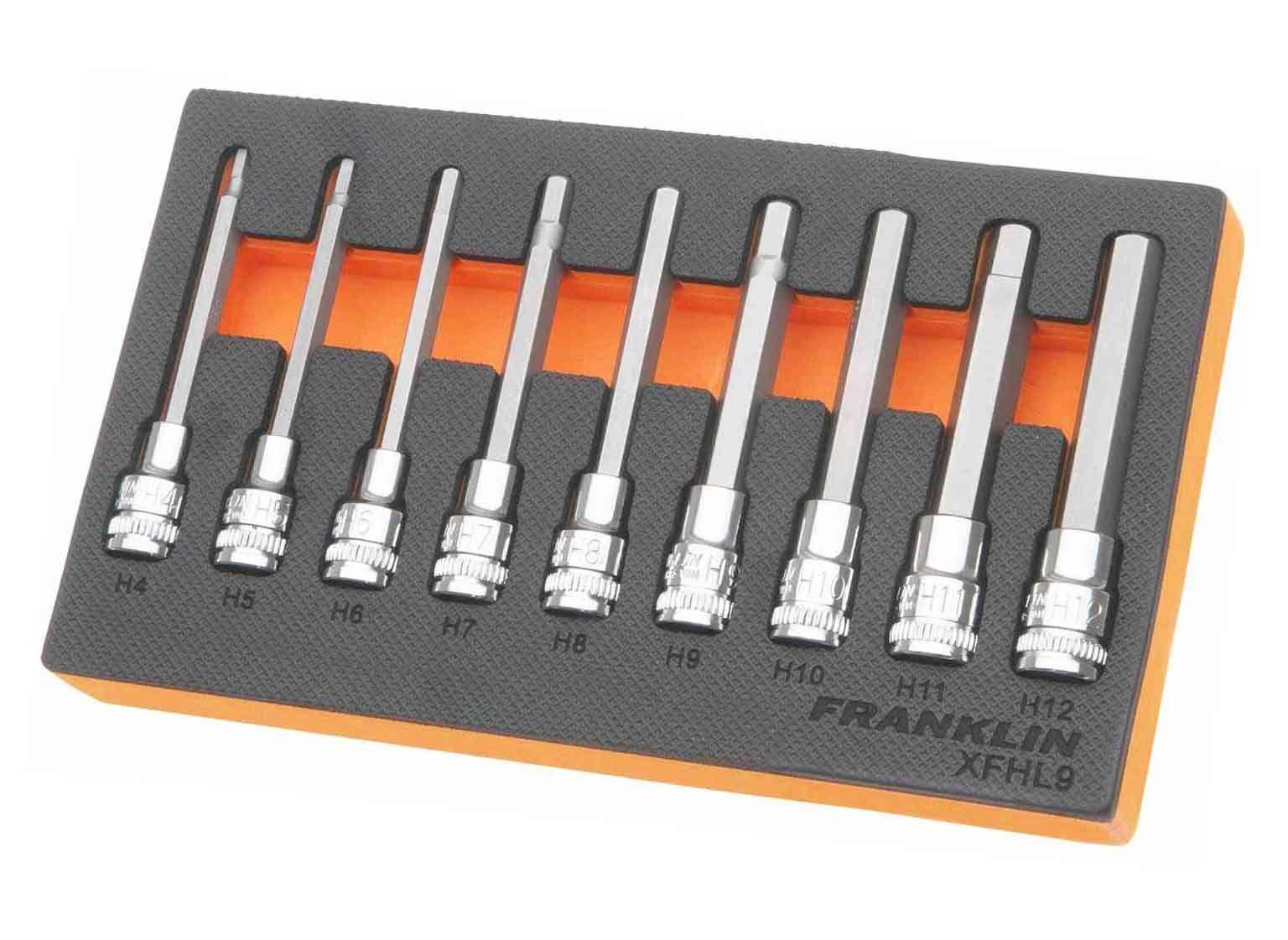 "Franklin XF 9 Piece Long Hexagon Bit Socket Set 3/8"" Drive"