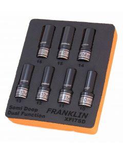 """Franklin XF 7 Piece 6 Point Semi Deep Thin Wall Impact Socket Set 1/2"""" Drive"""