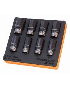 """Franklin XF 8 Piece 6 Point Semi Deep Thin Wall Impact Socket Set 1/2"""" Drive"""