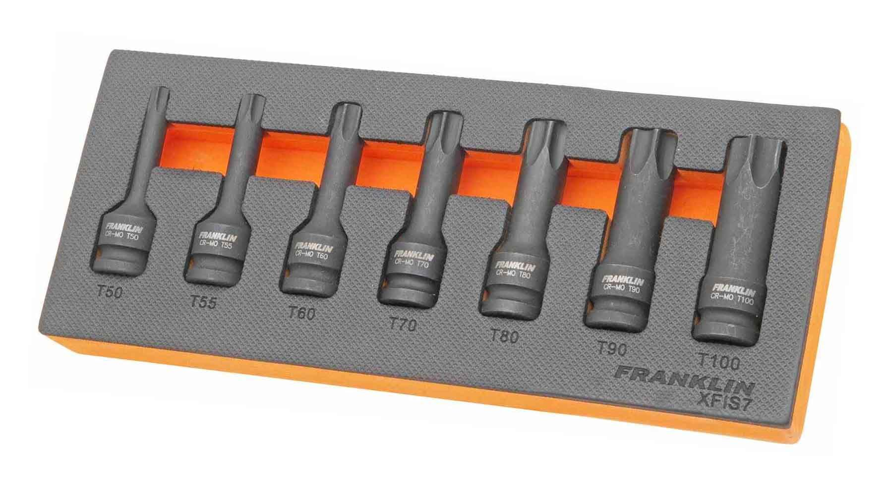 """Franklin XF 7 Piece Impact Star Bit Socket Set 1/2"""" Drive"""